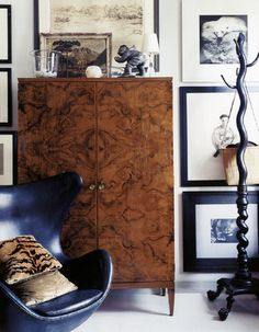 | P |  Antique with Modern - Leather Egg Chair with Antique Commode - Thomas O'Brien http://aerostudios.com/#/home