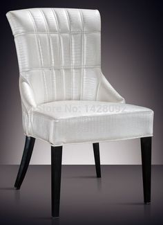 European and American style comfortable white upholstered dining chair LQ-L8976