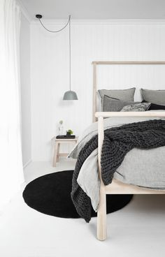 Bedroom Pendant Lights: 40 Unique Lighting Fixtures That Add Ambience To Your Sleeping Space. Scandi bedroom, Scandinavian bedroom, home decor. Cama Ikea, Ikea Bedroom, Home Bedroom, Bedroom Decor, Ikea Beds, Bedroom Ideas, Master Bedroom, Bedroom Inspo, Nordic Bedroom