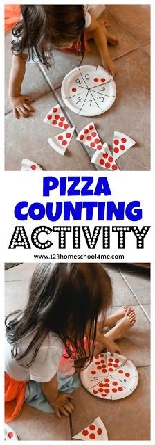 FUN hands-on PIZZA COUNTING ACTIVITY – such a creative math activity for toddler, preschool, and kindergarten age kids to practice early math! - Kids education and learning acts Kindergarten Age, Kindergarten Math Activities, Preschool Learning, Toddler Preschool, Toddler Learning, Counting Activities Eyfs, Teaching, Maths Eyfs, Preschool Games