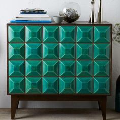 Lovely cabinet by Lubna Chowdhary Tiled Buffet (with real ceramic tiles) - Teal Furniture Styles, Unique Furniture, Furniture Decor, Furniture Design, Mid Century Modern Sideboard, Modern Buffet, Cabinet Furniture, Furniture Storage, Dining Room Chairs