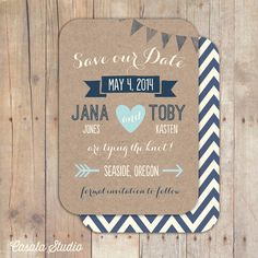 Whimsical Rustic Kraft Paper Wood Save the Date Wedding Announcement Invite Printable OR Printed Card