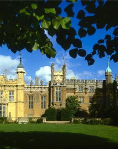 The garden front of Knebworth House. The 15th & 16th century house was reduced in size in the early 19th century and was remodelled in a Gothic style