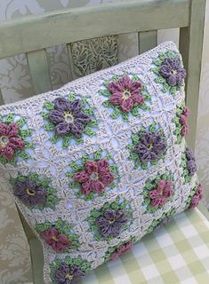 Floral Granny Square Pillow $5.61