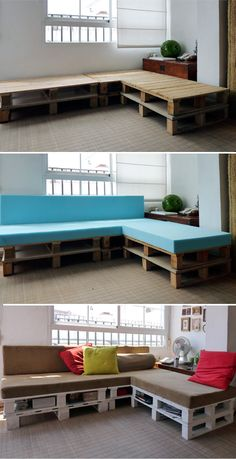 Here's a more elaborate project that required 6 wooden pallets. They were painted and covered with upholstered foam pillows. Because the base was made of two pallet levels, this provides a lot of very useful storage space for all sorts of things like books and magazines and other items.