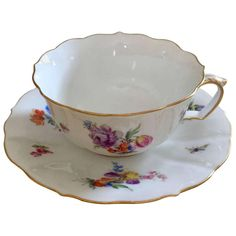 19th Century Meissen Porcelain Painted Gilt Cup & Saucer For Sale