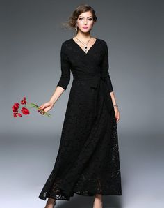 #VIPme Black Surplice Neckline Party Maxi Dress ❤️ Get more outfit ideas and style inspiration from fashion designers at VIPme.com.