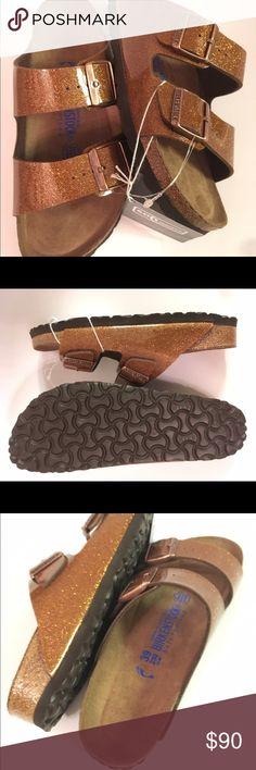 Brand new Birkenstock Arizona. US 8.5-9.5 EU 39. Brand new Birkenstock Arizona. US 8.5-9.5/EU 39. Soft footbed. Narrow width. Magic galaxy glitter bronze. Birkenstock Shoes Sandals