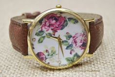 Floral Watch Vintage Style  Leather Watch Women by Evanworld, $5.99 Personalized fashion charm watch, best gift of friendship.