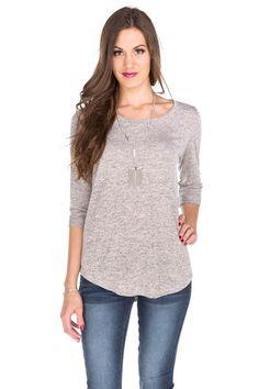 Space Dye 3/4 Sleeve Tunic Sweater