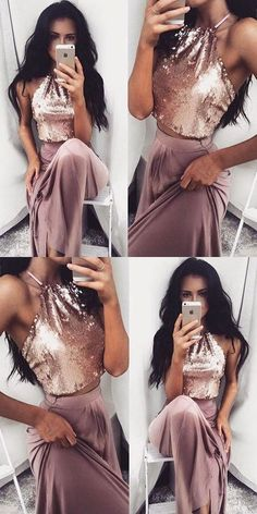 Fashion Two-Piece A-Line Sequins Long Prom Evening Dress #twopiecespromdresses #sequintoppromdress #prom #dresses #longpromdress #promdress #eveningdress #promdresses #partydresses #2018promdresses