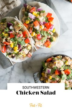 This Southwest Chicken Salad is the perfect spin on traditional chicken salad to spice up your everyday lunch! Chicken is tossed with mayo, lime juice, cilantro, bell peppers, and Mexican spices, then stuffed into jicama tortilla shells for a grain-free, portable, and flavor-packed meal. Paleo Salad Recipes, Healthy Living Recipes, Lunch Recipes, Yummy Recipes, Tortilla Shells, Southwestern Chicken Salads, Mexican Chicken Salads, Chicken Salad No Mayo