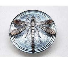 Czech Glass Cabochon Blue Montana - Silver Dragonfly