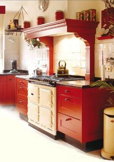 Red Country Kitchen #red #kitchendesign