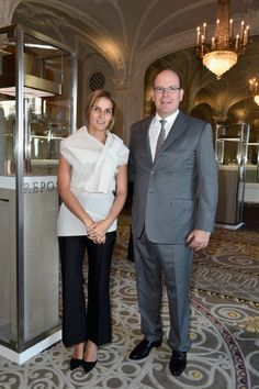 Prince Albert II of Monaco and Creative director of the Italian jewellery brand Repossi, Gaia Repossi attend the launch of the 'White noise' collection at Hotel Hermitage on 30.07.2014 in Monaco, Monaco.