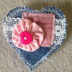 Denim Heart brooch pin with pink yoyo button
