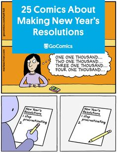 Happy New Year! Here are 25 comics that will help motivate you to get those resolutions written. Funny New Year, Happy New Year, Christmas Comics, Resolutions, Snowman, Teacher, English, How To Get, Writing
