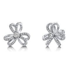 Cubic Zirconia CZ 925 Sterling Silver Flower Tie Stud Earrings from Berricle - Price: $72.99
