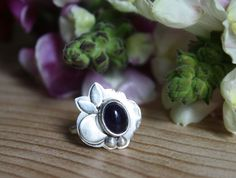 Little Himalaya moon ring, sterling silver moon amethyst jewelry