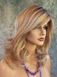 Curve Appeal Lace Front Mono Part Heat Friendly Wig SHADED BISCUIT ROOTED BLOND  #raquelwelch