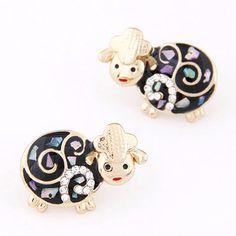 Modern Black Diamond Decorated Sheep Shape Design Alloy Stud Earrings:Asujewelry.com