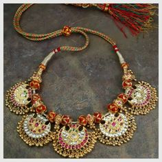 Vintage kundan necklace- Revival of an antique pendant to render this a complete necklace in 'kundan' style, is part of Gehna's private coll. India Jewelry, Temple Jewellery, Gold Jewelry, Diamond Jewellery, Ethnic Jewelry, Gold Necklaces, Amrapali Jewellery, Jewlery, Jewelry Shop