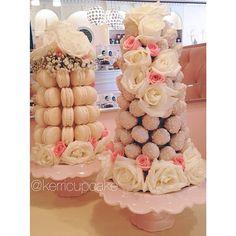 Macaron Tower. Strawberry Tower. Custom Wedding Towers. Fresh Flowers. Blush and Ivory. Decadence. Weddings. #VillageIndulgence @Kerricupcake on Instagram