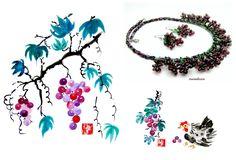 Défi Octobre Fête des Vendanges Peintures Chinoises-Boucles-Parure Verre-Filé : Parure par marialissen
