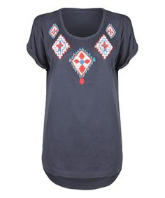 Another great find on #zulily! Navy & Red Tribal Scoop Neck Tee by Dex #zulilyfinds