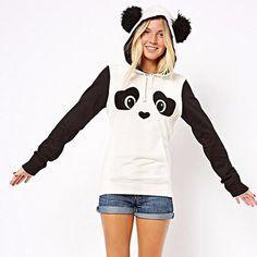 Women's Winter Warm Panda Fleece Pullover Jumper Hooded Sweater