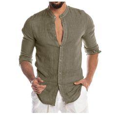 Newest Mens Fashion Casual Shirts Long Sleeve Male Social Business Slim Fit Button Placket Soild Korean Collar Top Autumn Blouse Shorts Casual, Casual Shirts, Hawaii Shirt, Long Sleeve Tops, Long Sleeve Shirts, White Shirt Men, White Shirts, Cardigan Shirt, Dress Shirt