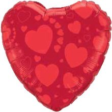 Red On Red Hearts Foil Heart 18in 45cm