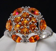2.08ct Genuine Padparadscha Color Topaz & White Topaz 925 Sterling Silver Ring, Size 7. Visit my eBay store for this and more beautiful genuine earth-mined gemstone jewelry! http://stores.ebay.com/hm-fine-jewelry-and-more #PadparadschaTopaz #topaz #birthstonerings #birthstones #rings #fashionrings #fashionjewelry #jewelrystyles #ringstyles #finejewelry #jewelry #fashion #style #glam #glitzandglam #bling #jewelrylovers
