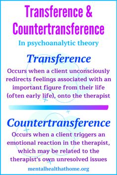 In psychoanalysis and psychodynamic psychotherapy, transference and countertransference are types of emotions that can come up within the therapeutic relationship. Family Psychology, Counseling Psychology, School Psychology, Psychology Notes, Psychology Disorders, Psychodynamic Psychotherapy, Family Therapy, Play Therapy, Psychiatric Medications