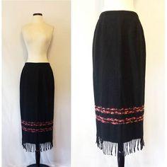 Long Wool Skirt by Michele / Southwest Style Fringe Maxi Skirt / Black and Coral / Woven Wool Skirt Small Medium / Black & Citrus Folk Skirt