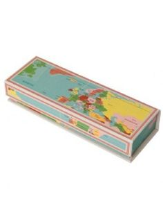 Large vintage world map desk tidy is fun vintage styled world map vintage world map design carboard pencil case with magnetic lid gumiabroncs Images