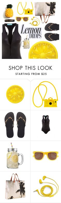 """Lemon drops"" by sanddollardubai on Polyvore featuring Moschino, Havaianas, Melissa Odabash, Jack Wills, Dezso by Sara Beltrán and FOSSIL"