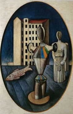 Painting by Carlo Carrà (1981-1966), 1918, L'Ovale delle Apparizioni (The Oval of Apparition, L'ovale des apparitions), oil on canvas.