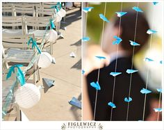 paper airplane curtain, chinese lantern aisle hangers