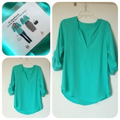 Ivy Solid Tab Sleeve V-Neck Blouse