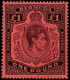 £3,500 Bermuda 1943 (Mar) £1 purple and black/red, SG121cb.  Very scarce printing variety of this King George VI high value issue showing shading omission from the top right scroll, 'blank scroll'.  Very fine quality mint example with original gum and barely a trace of a hinge mark.  The SG catalogue value is £4,000. Crown Colony, Mars 1, St Pierre, King George, Stamp Collecting, World History, Purple And Black, Postage Stamps, Vintage World Maps