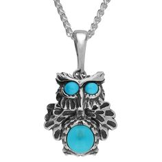 Turquoise Necklace Owl Moving Head Silver #cwsellors #necklaces
