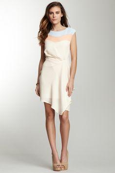 Pick Up Detail Colorblock Cap Sleeve Dress on HauteLook