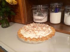 Coconut cream pie. Mmm! Hoosier Cabinet, Cream Pie, Coconut Cream, Homemaking, Camembert Cheese, Food, Home Economics, Essen, Cream Pies