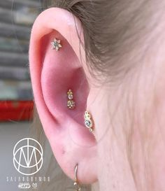 "Jesus Cabanas, Aka ""Sala"" on Instagram: ""We add some more gold and blings to @a__m__u ears ⭐️💛✨#pinpoint #pinpointpiercing #appmember #safepiercing #appepiercing #gold…"" • Instagram"