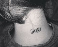 "Little back of the neck tattoo saying ""Ohana"" on... - Little Tattoos for Men and Women"