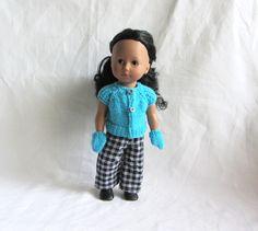 Habit poupée : gilet et gants bleu cyan pour poupée Just like me de Götz