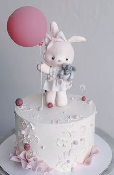 Girls First Birthday Cake, Baby Birthday Cakes, Beautiful Birthday Cakes, Cake Decorating Designs, Cake Designs, Fondant Cakes, Cupcake Cakes, Bolo Hello Kitty, Baby Girl Cakes