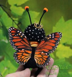 """Frederic the butterfly monarch. Stuffed Butterfly. By Alina Biliakova. 4.3 inches (11 centimeters). Ladies and gentlemen! Let me introduce you to His Majesty Frederic the First-a monarch butterfly!!))) Frederic continued my collection of """"Mini-World"""".Soon the collection will be supplemented some butterflies such as Hypolimnas bolina, moth, Pachliopta kotzebuea and other..and also a 2 caterpillars, spider, grasshopper and bumblebee. It will be very interesting!)))"""