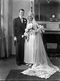 The marriage of William J.R. Connell to Miss Eileen Isobel, 1928.  That's a lot of lilies, bouquets almost as big as the the bride.